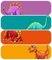 Modello di banner con enormi dinosauri