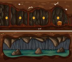 Cave sotterranee e modello di miniera vettore