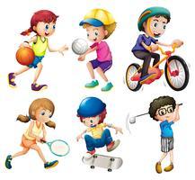 Bambini e sport vettore