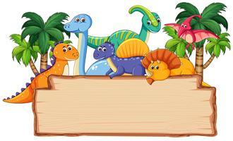 Molti dinosauri su tavola di legno vettore