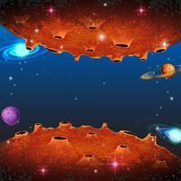 Scena con pianeti in galassia vettore