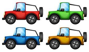 Quattro jeepneys colorati vettore