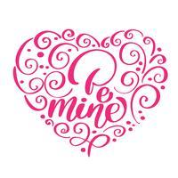 Be Mine testo vintage come logotipo Happy Valentines Day a forma di cuore, distintivo e icona. Citazione romantica cartolina, carta, invito, modello di banner. Amore lettering tipografia sullo sfondo con texture con il cuore