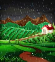 Scena della natura con la pioggia nella collina