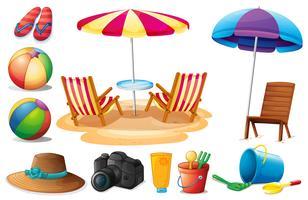 Le cose trovate in spiaggia durante l'estate vettore