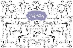 Turbinii disegnati a mano e amorevoli angoli d'amore a forma di cuore. Elementi di design calligrafico. Illustrazione vettoriale vintage