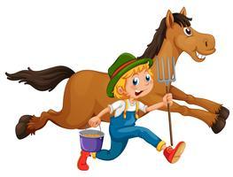 Agricoltore e cavallo vettore