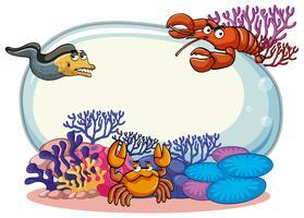 Modello di confine con animali marini vettore