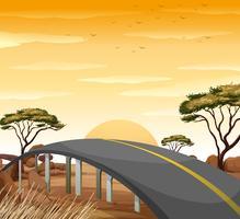 Strada nel campo della savana vettore
