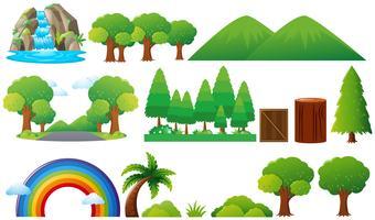 Insieme di alberi e montagne vettore