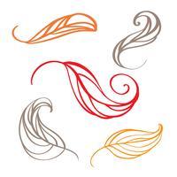 Insieme delle foglie di doodle autunno colore. Illustrazione vettoriale