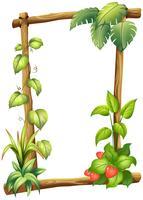 Una cornice di legno con foglie diverse
