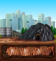 Una miniera vicino alla città vettore