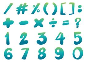 Font design per numeri e segni in blu