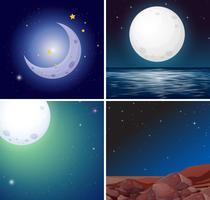 Set di scene di luna notturna vettore