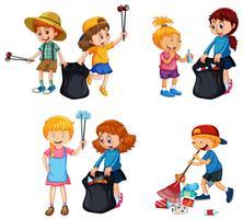 Una serie di bambini che si offrono volontari per ripulire vettore