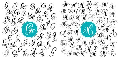 Impostare la lettera G e H. calligrafia fiorita di vettore disegnato a mano. Font script Lettere isolate scritte con inchiostro. Stile del pennello scritto a mano. Iscrizione a mano per poster di design packaging loghi.