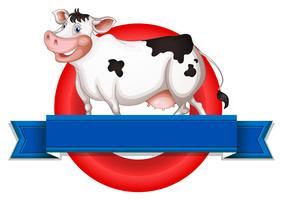 Un'etichetta vuota con una mucca vettore