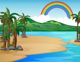 Una bella scena tropicale dell'isola vettore