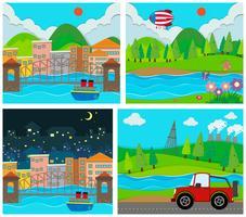 Quattro scene di aree rurali e urbane vettore