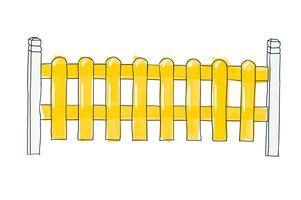 Divertente schizzo recinzione da doghe piatte, dipinte in giallo Disegno vettoriale in stile Doodle di penna su carta con spazio per il testo su sfondo bianco