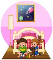 Ragazzo e ragazza che giocano i giocattoli in camera da letto vettore