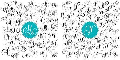 Impostare la lettera M, N. Hand drawn vector flourish calligraphy. Font script Lettere isolate scritte con inchiostro. Stile del pennello scritto a mano. Iscrizione a mano per poster di design packaging loghi
