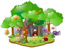 Molti bug che vivono nella foresta vettore