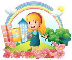 Una bambina in piedi nel giardino vettore