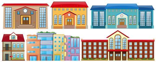 Diversi disegni di edifici vettore