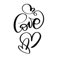 iscrizione scritta a mano AMORE e cuore Happy Valentines day card, citazione romantica per biglietti di auguri di design, inviti per le vacanze vettore