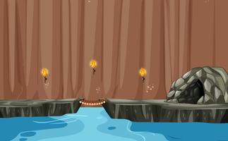 Una scena di caverna sul fiume sotterraneo vettore