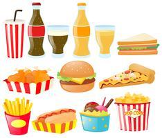 Fastfood impostato con diversi tipi di cibi e bevande vettore