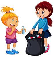 Buoni bambini che raccolgono rifiuti su fondo bianco vettore
