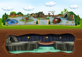 Una mappa di Zoo e Underground vettore