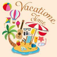 Tema di vacanza con oggetti dell'isola e della spiaggia vettore