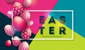 Illustrazione vettoriale di felice vacanza di Pasqua con uova dipinte su sfondo colorato.