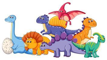 Set di caratteri differenti di dinosauro vettore