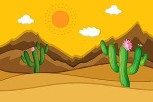 Scena del deserto con cactus in primo piano vettore