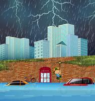 Inondazione improvvisa nella grande città vettore