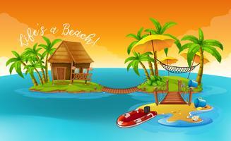 Vacanze estive con cottage sull'isola tropicale vettore
