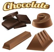 Diversi disegni di tavolette di cioccolato vettore