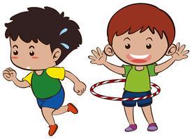Due ragazzi che corrono e hulahooping vettore