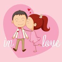 Modello di carta Velentine con ragazza che bacia ragazzo vettore