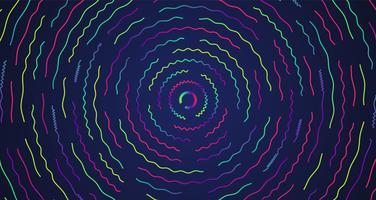 Linee tratteggiate al neon colorate, illustrazione vettoriale