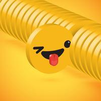 Emoticon dettagliato alto giallo del disco 3D selezionato, illustrazione di vettore