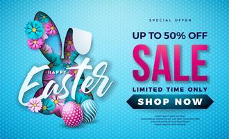 Illustrazione di vendita di Pasqua con uovo di colore dipinto, fiore di primavera e orecchie di coniglio vettore