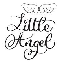 Piccole parole di angelo su sfondo bianco. Illustrazione disegnata a mano EPS10 di vettore dell'iscrizione di calligrafia