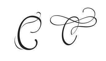 arte calligrafia lettera C con fiorire di spirali decorativi vintage. Illustrazione vettoriale EPS10