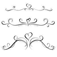 insieme di calligrafia d'arte di spirali decorativi d'epoca per il design. Illustrazione vettoriale EPS10